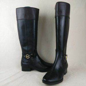 Michael Kors Black Leather Knee High Riding Boots